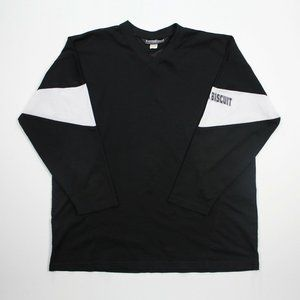 Vintage Black White Long Sleeve Jersey Mesh Top XL